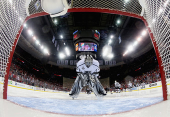 NEWARK, NJ - JUNE 02:  Jonathan Quick #32 of the Los Angeles Kings stands in goal before playing against the New Jersey Devils prior to Game Two of the 2012 NHL Stanley Cup Final at the Prudential Center on June 2, 2012 in Newark, New Jersey.  (Photo by B