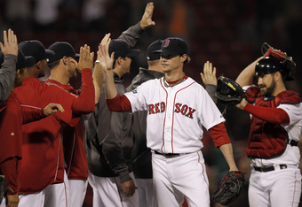 It's been a lot of high-fives lately for Buchholz, who has been very impressive in his recent starts.