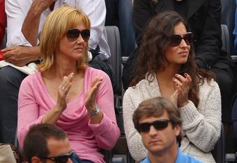 ROME, ITALY - MAY 21:  Rafael Nadal's girlfriend Maria Francisca Perello and mother Ana María Parera look on during the final between Novak Djokovic of Serbia and Rafael Nadal of Spain during day ten of the Internazionali BNL d'Italia 2012 at the Foro Ita