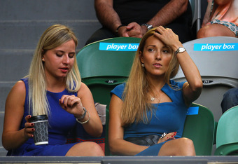 MELBOURNE, AUSTRALIA - JANUARY 29:  Jelena Ristic (R), girlfriend of Novak Djokovic of Serbia, arrives to watch Novak Djokovic of Serbia and Rafael Nadal of Spain in their men's finals match during day fourteen of the 2012 Australian Open at Melbourne Par
