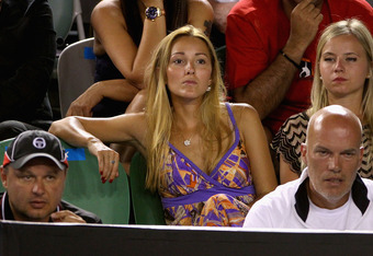 MELBOURNE, AUSTRALIA - JANUARY 23:  Jelena Ristic, girlfriend of Novak Djokovic of Serbia watches his fourth round match against Lleyton Hewitt of Australia during day eight of the 2012 Australian Open at Melbourne Park on January 23, 2012 in Melbourne, A