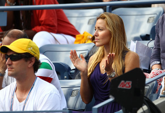 NEW YORK, NY - SEPTEMBER 08:  Jelena Ristic girlfirend of Novak Djokovic of Serbia watches Djokovic play against Janko Tipsarevic of Serbia during Day Eleven of the 2011 US Open at the USTA Billie Jean King National Tennis Center on September 8, 2011 in t