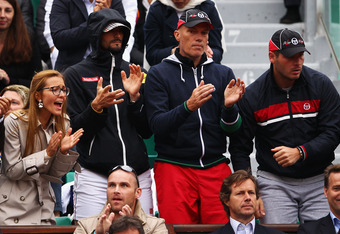 PARIS, FRANCE - JUNE 05:  Jelena Ristic (2nd L), girlfriend of Novak Djokovic of Serbia watches his men's singles quarter final match against Jo-Wilfried Tsonga of France during day 10 of the French Open at Roland Garros on June 5, 2012 in Paris, France.