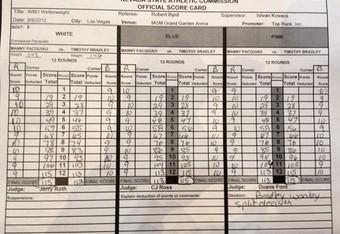 Official Pacquiao-Bradley Scorecards