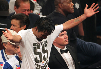 Pacquiao told Max Kellerman after the Bradley bout that he was confident he won the fight. He even sported a t-shirt celebrating Victory 55