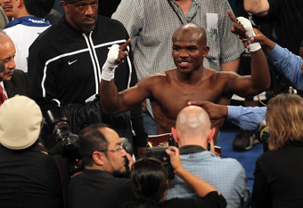 LAS VEGAS, NV - JUNE 09:  Timothy Bradley has his hand raised in victory after defeating Manny Pacquiao by split decision to win the WBO welterweight championship at MGM Grand Garden Arena on June 9, 2012 in Las Vegas, Nevada.  (Photo by Jeff Bottari/Gett