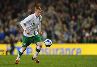 DUBLIN, IRELAND - FEBRUARY 29:  James McClean of Republic of Ireland in action during the International Friendly match between  Republic of Ireland and Czech Republic at Aviva Stadium on February 29, 2012 in Dublin, Ireland.  (Photo by Mike Hewitt/Getty I