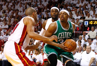 MIAMI, FL - JUNE 05:  Paul Pierce #34 of the Boston Celtics drives in the first quarter against LeBron James #6 and Shane Battier #31 (L) of the Miami Heat in Game Five of the Eastern Conference Finals in the 2012 NBA Playoffs on June 5, 2012 at American