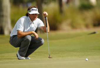 AVONDALE, LA - APRIL 27:  Bubba Watson lines up a putt on the 14th hole during the second round of the Zurich Classic at TPC Louisiana on April 27, 2012 in Avondale, Louisiana.  (Photo by Chris Graythen/Getty Images)