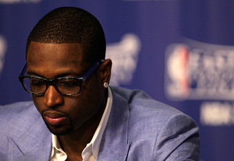 MIAMI, FL - JUNE 09:  Dwyane Wade #3 of the Miami Heat speaks with the media after beating the Boston Celtics in Game Seven of the Eastern Conference Finals in the 2012 NBA Playoffs at American Airlines Arena on June 9, 2012 in Miami, Florida.  (Photo by