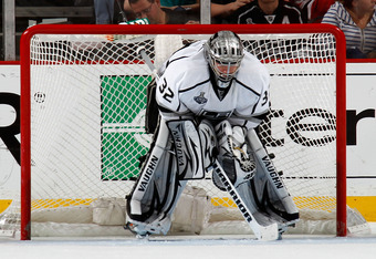 NEWARK, NJ - JUNE 09: Jonathan Quick #32 of the Los Angeles Kings looks on during Game Five of the 2012 NHL Stanley Cup Final against the New Jersey Devils at the Prudential Center on June 9, 2012 in Newark, New Jersey.  (Photo by Bruce Bennett/Getty Imag