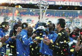 PRETORIA, SOUTH AFRICA - JULY 28:  Tottenham celebrate with the trophy after the final Vodacom Challenge match between Orlando Pirates and Tottenham Hotspur held at Loftus Versfeld Stadium July 28, 2007 in Pretoria, South Africa. (Photo by Lefty Shivambu/
