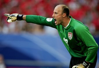 GELSENKIRCHEN, GERMANY - JUNE 12:  Kasey Keller, goalkeeper of USA, shouts instructions during the FIFA World Cup Germany 2006 Group E match between USA and Czech Republic at the Stadium Gelsenkirchen on June 12, 2006 in Gelsenkirchen, Germany.  (Photo by