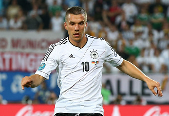 L'VIV, UKRAINE - JUNE 09:  Lukas Podolski of Germany in action during the UEFA EURO 2012 group B match between Germany and Portugal at Arena Lviv on June 9, 2012 in L'viv, Ukraine.  (Photo by Martin Rose/Getty Images)