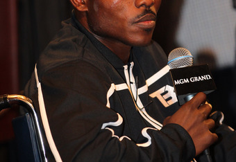 LAS VEGAS, NV - JUNE 09:  Timothy Bradley addresses the media during the post-fight press conference in a wheelchair after defeating Manny Pacquiao by split decision at MGM Grand Garden Arena on June 9, 2012 in Las Vegas, Nevada.  (Photo by Jeff Bottari/G