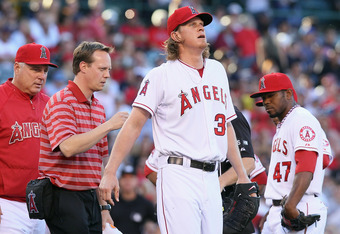 Angels' ace Jered Weaver was placed on the 15-day DL over two weeks ago.