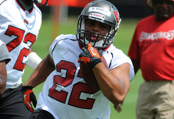 Rookie running back Doug Martin working at a minicamp session.