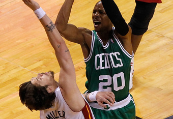 MIAMI, FL - JUNE 09:  Ray Allen #20 of the Boston Celtics shoots over Mike Miller #13 of the Miami Heat in Game Seven of the Eastern Conference Finals in the 2012 NBA Playoffs on June 9, 2012 at American Airlines Arena in Miami, Florida. NOTE TO USER: Use