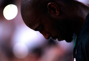 MIAMI, FL - JUNE 09:  Kevin Garnett #5 of the Boston Celtics looks on before Game Seven of the Eastern Conference Finals in the 2012 NBA Playoffs against the Miami Heat on June 9, 2012 at American Airlines Arena in Miami, Florida. NOTE TO USER: User expre