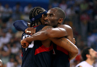 BEIJING - AUGUST 24: Kobe Bryant #10 and Carmelo Anthony #15 of the United States embrace after defeating Spain 118-107 in the gold medal game during Day 16 of the Beijing 2008 Olympic Games at the Beijing Olympic Basketball Gymnasium on August 24, 2008 i