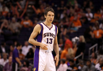 PHOENIX, AZ - APRIL 25:  Steve Nash #13 of the Phoenix Suns during the NBA game against the San Antonio Spurs at US Airways Center on April 25, 2012 in Phoenix, Arizona.  The Spurs defeated the Suns 110-106.  NOTE TO USER: User expressly acknowledges and