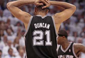 OKLAHOMA CITY, OK - JUNE 06:  Tim Duncan #21 of the San Antonio Spurs walks away after committing a foul against the Oklahoma City Thunder in Game Six of the Western Conference Finals in the 2012 NBA Playoffs on June 6, 2012 at the Chesapeake Energy Arena