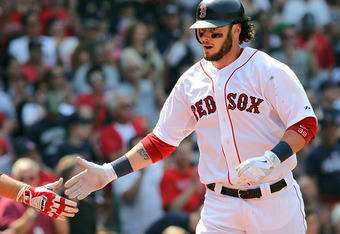 BOSTON, MA - MAY 28: Jarrod Saltalamacchia #39 of the Boston Red Sox celebrates his home run in the third inning against the Detroit Tigers at Fenway Park May 28, 2012  in Boston, Massachusetts. (Photo by Jim Rogash/Getty Images)