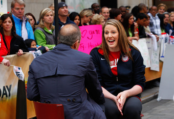 NEW YORK, NY - APRIL 18:  Olympic swimmer Missy Franklin is interviewed by Today Show host Matt Lauer during the Team USA Road to London 100 Days Out Celebration in Times Square on April 18, 2012 in New York City.  (Photo by Jeff Zelevansky/Getty Images f