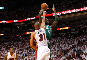 MIAMI, FL - JUNE 05:  Kevin Garnett #5 of the Boston Celtics attempts a shot in the first quarter against Shane Battier #31 of the Miami Heat in Game Five of the Eastern Conference Finals in the 2012 NBA Playoffs on June 5, 2012 at American Airlines Arena