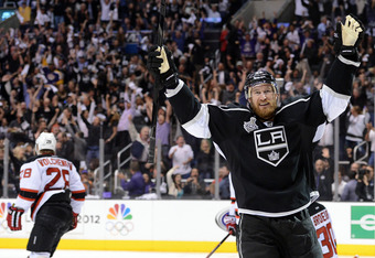 LOS ANGELES, CA - JUNE 11:  Jeff Carter #77 of the Los Angeles Kings celebrates after scoring a goal in the second period against the New Jersey Devils in the second period of Game Six of the 2012 Stanley Cup Final at Staples Center on June 11, 2012 in Lo