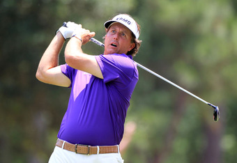 PONTE VEDRA BEACH, FL - MAY 12: Phil Mickelson of the United States hits his tee shot on the ninth hole during the third round of THE PLAYERS Championship held at THE PLAYERS Stadium course at TPC Sawgrass on May 12, 2012 in Ponte Vedra Beach, Florida.  (