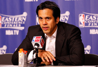 MIAMI, FL - JUNE 09:  Head coach Erik Spoelstra of the Miami Heat talks to the media following game seven of the Eastern Conference Finals Game in the 2012 NBA Playoffs against the Boston Celtics at American Airlines Arena on June 9, 2012 in Miami, Florid