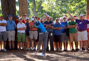 MEMPHIS, TN - JUNE 07:  Rory McIlroy of Northern Ireland hits his second shot on the par 5 16th hole during the first round of the FedEx St. Jude Classic at TPC Southwind on June 7, 2012 in Memphis, Tennessee.  (Photo by Andy Lyons/Getty Images)