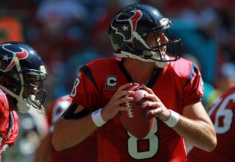 HOUSTON, TX - OCTOBER 30:  Matt Schaub #8 of the Houston Texans at Reliant Stadium on October 30, 2011 in Houston, Texas.  (Photo by Ronald Martinez/Getty Images)