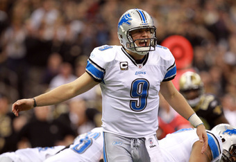 NEW ORLEANS, LA - JANUARY 07:  Matthew Stafford #9 of the Detroit Lions shouts out a play against the New Orleans Saints during their 2012 NFC Wild Card Playoff game at Mercedes-Benz Superdome on January 7, 2012 in New Orleans, Louisiana.  (Photo by Ronal