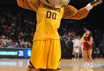 NEW YORK, NY - MARCH 27: Goldy Gopher, mascot of the Minnesota Golden Golphers, is seen during the semifinals of the 2012 NCAA NIT Men's Basketball Championship between the Washington Huskies and the Minnesota Golden Gophers at Madison Square Garden on Ma