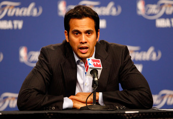 OKLAHOMA CITY, OK - JUNE 12:  Head coach Erik Spoelstra of the Miami Heat answers questions after the Oklahoma City Thunder defeat the Heat 105-94 in Game One of the 2012 NBA Finals at Chesapeake Energy Arena on June 12, 2012 in Oklahoma City, Oklahoma. N