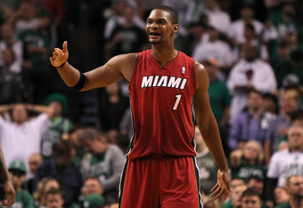 BOSTON, MA - JUNE 07:  Chris Bosh #1 of the Miami Heat reacts in the second half against the Boston Celtics in Game Six of the Eastern Conference Finals in the 2012 NBA Playoffs on June 7, 2012 at TD Garden in Boston, Massachusetts. NOTE TO USER: User exp