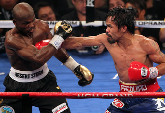Pacquiao in action vs Bradley