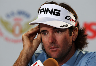 SAN FRANCISCO, CA - JUNE 12:  Bubba Watson of the United States is interviewed by the media during a press conference after playing a practice round prior to the start of the 112th U.S. Open at The Olympic Club on June 12, 2012 in San Francisco, Californi