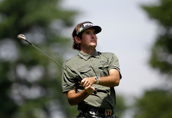 BETHESDA, MD - JUNE 18:  Bubba Watson watches a shot on the ninth hole during the third round of the 111th U.S. Open at Congressional Country Club on June 18, 2011 in Bethesda, Maryland.  (Photo by Rob Carr/Getty Images)