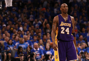 OKLAHOMA CITY, OK - MAY 21:  Kobe Bryant #24 of the Los Angeles Lakers during Game Five of the Western Conference Semifinals of the 2012 NBA Playoffs at Chesapeake Energy Arena on May 21, 2012 in Oklahoma City, Oklahoma.  NOTE TO USER: User expressly ackn