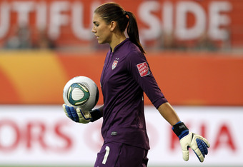 WOLFSBURG, GERMANY - JULY 06:  Hope Solo, goalkeeper of USA looks on during the FIFA Women's World Cup 2011 Group C match between Sweden and USA at Wolfsburg Arena on July 6, 2011 in Wolfsburg, Germany.  (Photo by Martin Rose/Getty Images)