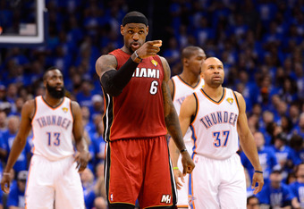 OKLAHOMA CITY, OK - JUNE 12:  LeBron James #6 of the Miami Heat reacts in the second quarter while taking on the Oklahoma City Thunder in Game One of the 2012 NBA Finals at Chesapeake Energy Arena on June 12, 2012 in Oklahoma City, Oklahoma. NOTE TO USER: