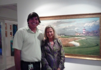 The author with the painter Linda Hartough in Hilton Head where Augusta National discovered her and her work was transformed into golf-landscapes like the Harbour TowneLinks painting in the background.