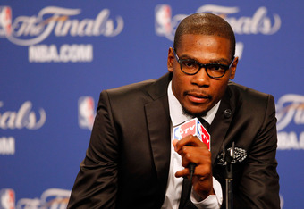 OKLAHOMA CITY, OK - JUNE 12:  Kevin Durant #35 of the Oklahoma City Thunder answers questions after the Thunder defeat the Miami Heat 105-94 in Game One of the 2012 NBA Finals at Chesapeake Energy Arena on June 12, 2012 in Oklahoma City, Oklahoma. NOTE TO