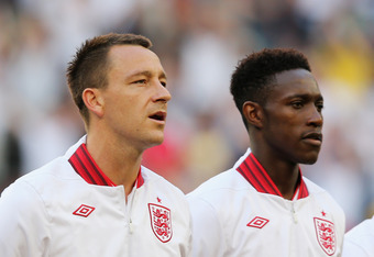 DONETSK, UKRAINE - JUNE 11:  John Terry and Danny Welbeck of England line up during the UEFA EURO 2012 group D match between France and England at Donbass Arena on June 11, 2012 in Donetsk, Ukraine.  (Photo by Ian Walton/Getty Images)