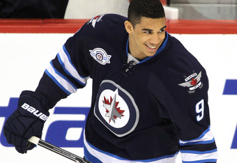 WINNIPEG, CANADA - FEBRUARY 17: Evander Kane #9 of the Winnipeg Jets warms up on the ice before a game against the Boston Bruins in NHL action at the MTS Centre on February 17, 2012 in Winnipeg, Manitoba, Canada. (Photo by Marianne Helm/Getty Images)