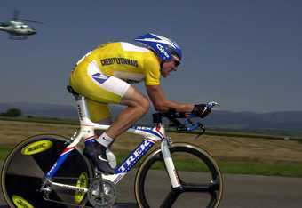 21 Jul 2000:  Laqnce Armstrong of the USA and the US Postal team pedals hard in Stage 19 Time-Trial between Freiburg-Mulhouse during the 2000 Tour De France,  France. Mandatory Credit: Doug Pensinger/ALLSPORT
