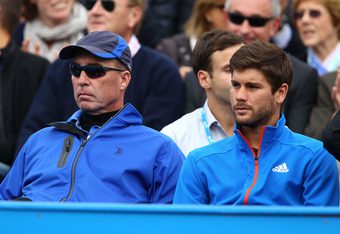 Not a happy camp: Lendl watching a disappointing performance from Murray at Queens